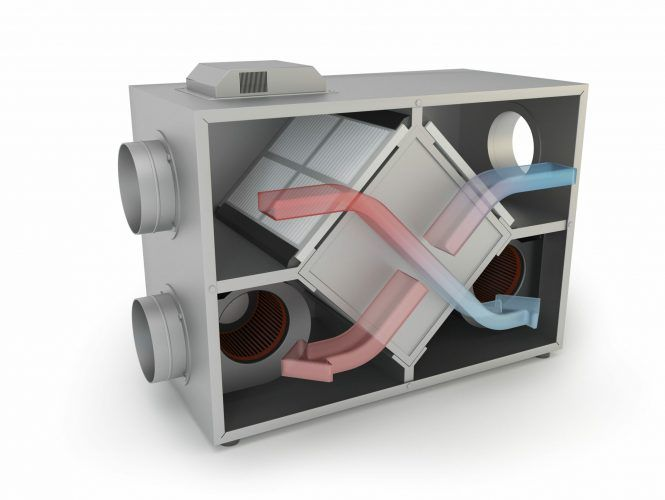 Air Recuperator with arrows. Filtration and ventilation system, 3D illustration